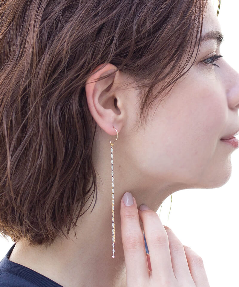 10%OFF<br>2チェーンフリンジフックピアス