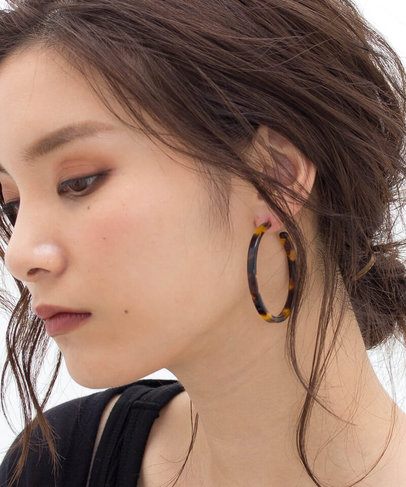 <SALE50%OFF>K14gold-filled べっ甲ビックフープピアス ☆